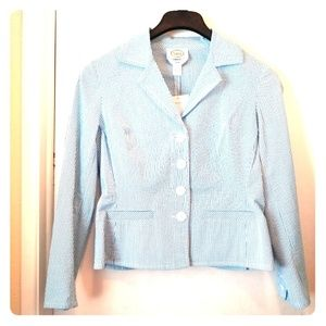 Talbots Jacket Size 10 Stretch Blue White